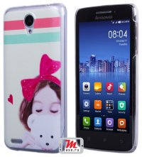 Задняя крышка для Lenovo IdeaPhone S650 Vibe X mini Hard Print Cover Girl with Bear