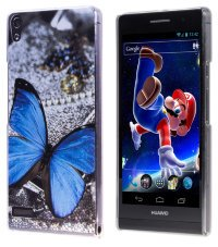 Чехол для Huawei Ascend P6 Hard Print Cover Blue Butterfly