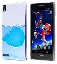 Чехол для Huawei Ascend P6 Hard Print Cover Blue Whale