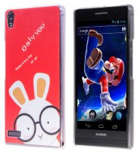 Чехол для Huawei Ascend P6 Hard Print Cover Funny Rabbit